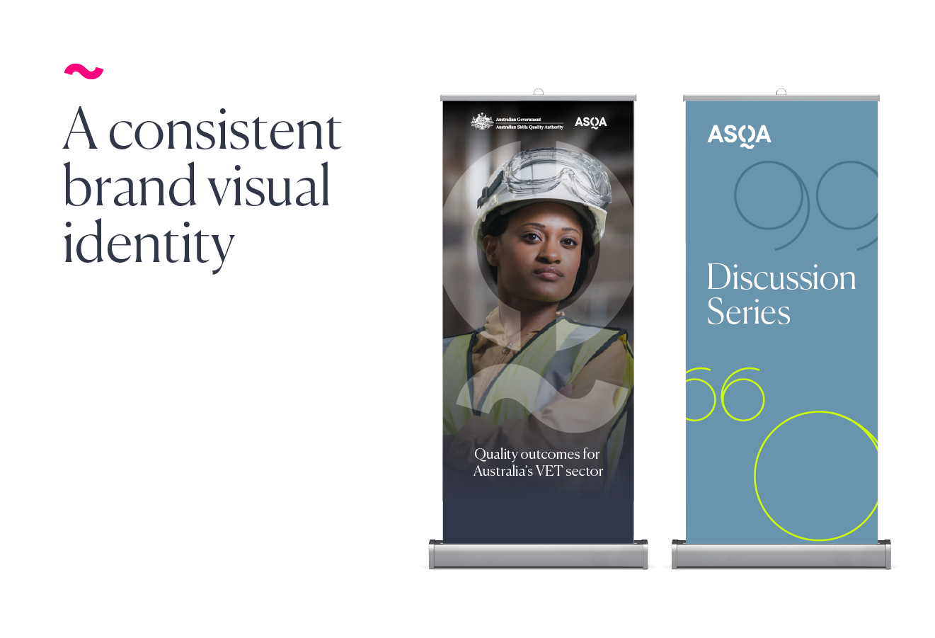 ASQA branded pull up event banners; text - A consistent brand visual identity