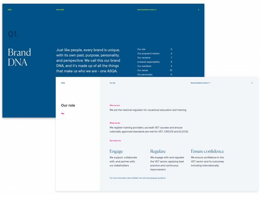 Pages from ASQA Brand DNA guidelines
