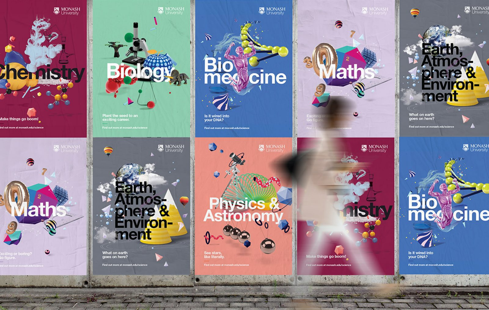 Monash Science Careers Guide promotional posters in a street setting