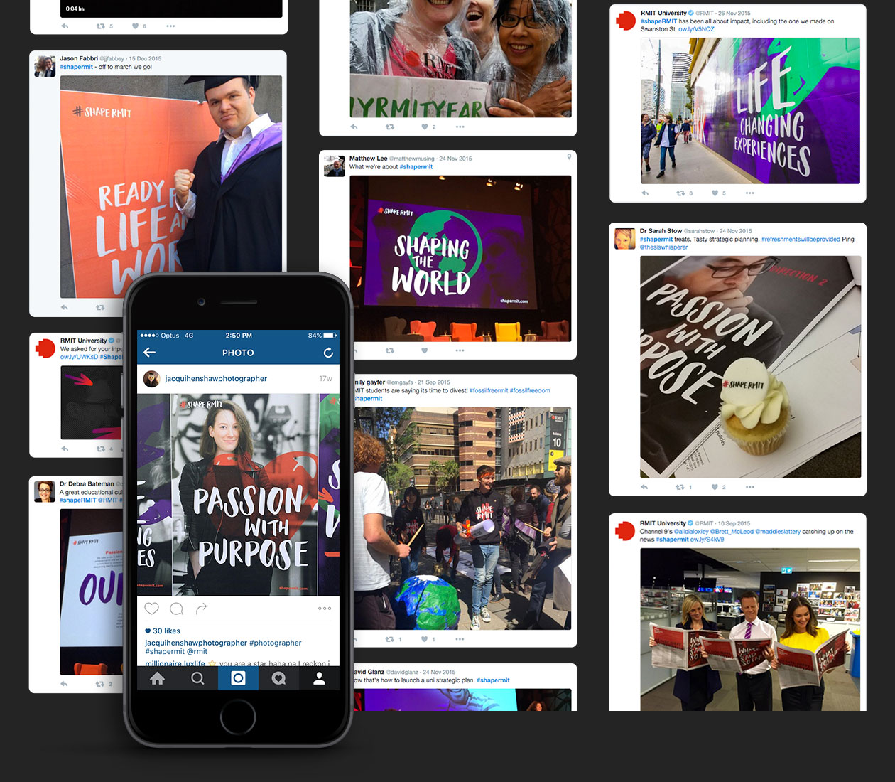 Crowd-sourced digital social media content featuring the ShapeRMIT hashtag
