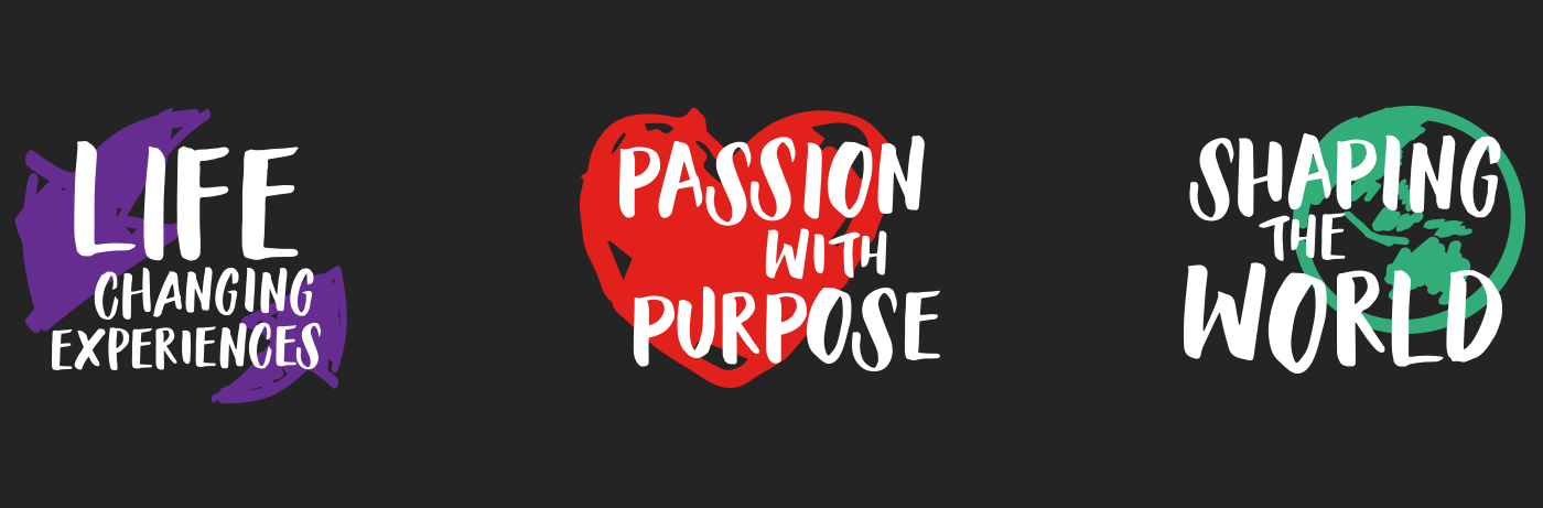 ShapeRMIT core values: Life Changing Experiences; Passion with Purpose; Shaping the World