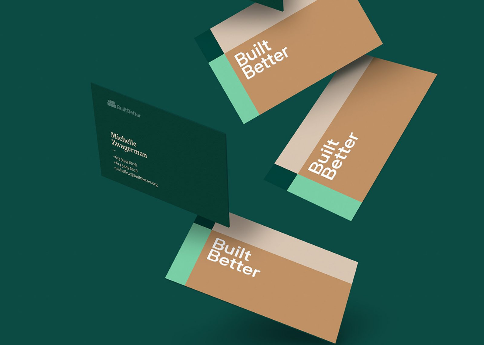 A set of cascading business cards for BuiltBetter