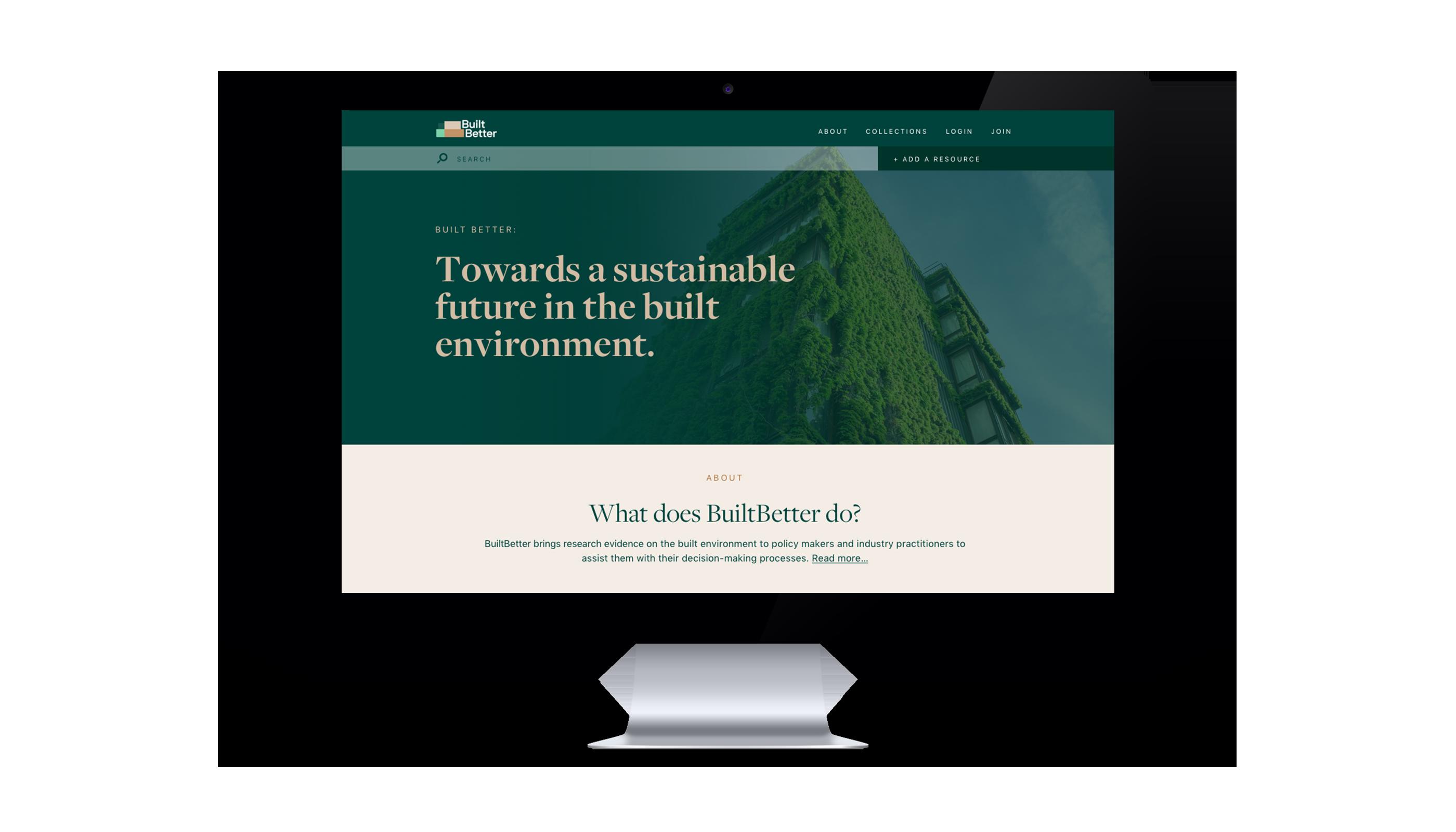 BuiltBetter website landing page on a computer screen