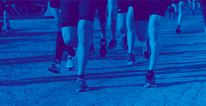 Group of people running with blue duotone