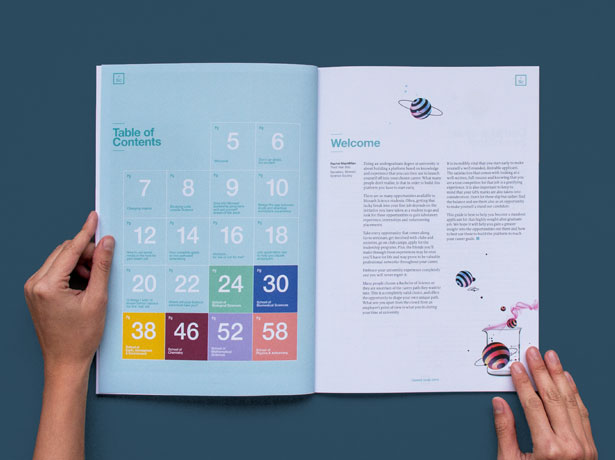 Inside spread of Monash Science Careers Guide - contents page and foreword