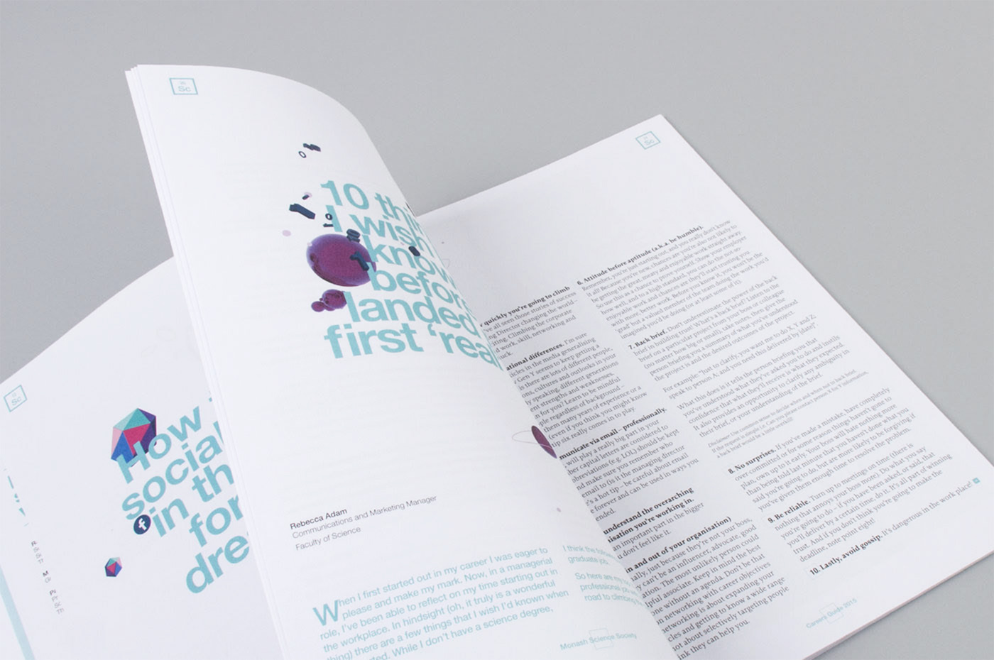 Inside pages of the Monash Science Careers Guide